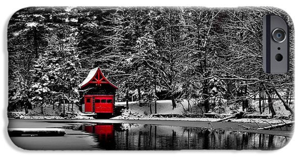 Snow Scene iPhone Cases - The Red Boathouse Pagoda in Old Forge iPhone Case by David Patterson