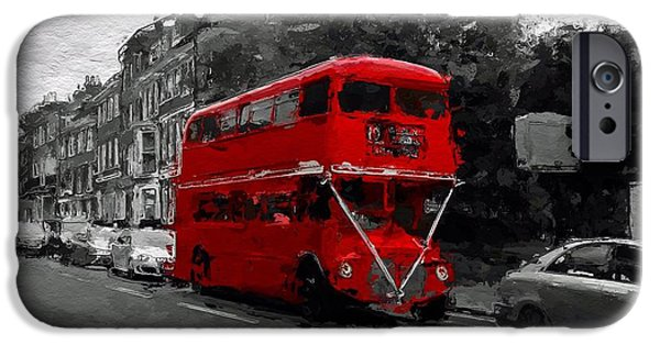 City Scape Mixed Media iPhone Cases - The red bus iPhone Case by Stefan Kuhn