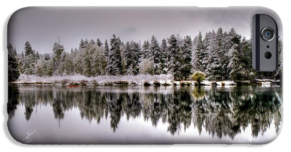 Grey Clouds Photographs iPhone Cases - The Red Canoe iPhone Case by Donna Kennedy