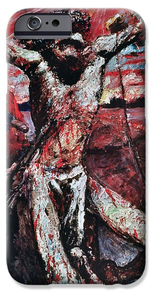 Crown Paintings iPhone Cases - The Red Christ iPhone Case by Lovis Corinth