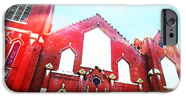 Historical Buildings iPhone Cases - The Red Church By Sharon Cummings iPhone Case by Sharon Cummings