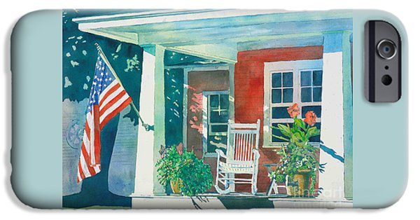 Porch iPhone Cases - The Red Cottage iPhone Case by LeAnne Sowa