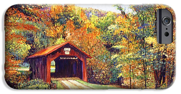 Fallen Leaf iPhone Cases - The Red Covered Bridge iPhone Case by David Lloyd Glover