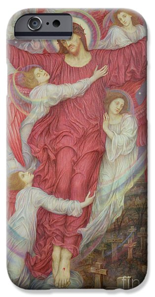 The Resurrection Of Christ iPhone Cases - The Red Cross iPhone Case by Evelyn De Morgan