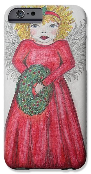 Angelic Drawings iPhone Cases - The Red Dress iPhone Case by Jan Muse