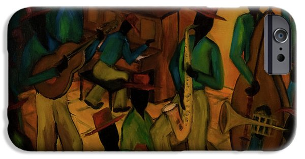 Keyboard Paintings iPhone Cases - The Red Hat Octet and Friends iPhone Case by Larry Martin