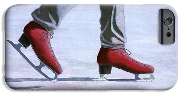 Snowy Day iPhone Cases - The Red Ice Skates iPhone Case by Karyn Robinson
