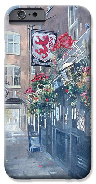 Public iPhone Cases - The Red Lion, Crown Passage, St. Jamess, London Oil On Canvas iPhone Case by Peter Miller