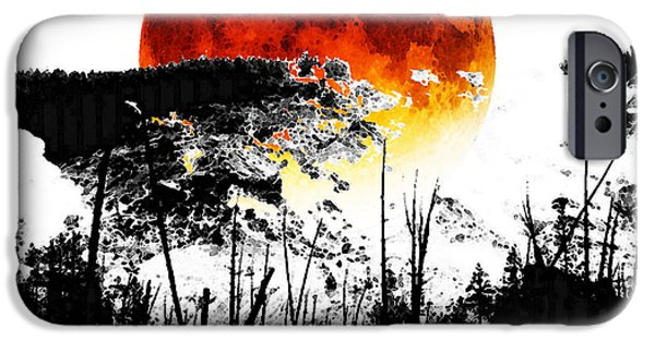 Red And Black iPhone Cases - The Red Moon - Landscape Art By Sharon Cummings iPhone Case by Sharon Cummings