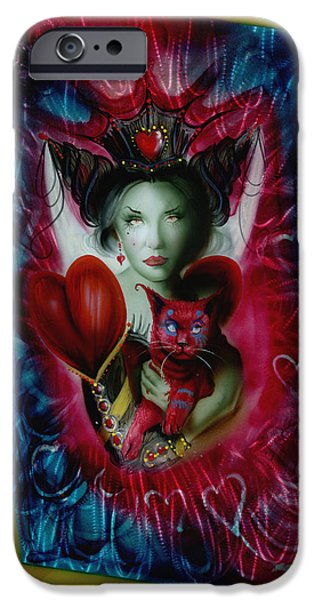 Queen Of Hearts iPhone Cases - The Red Queen iPhone Case by Luis  Navarro