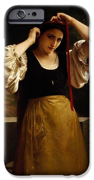 Hairstyle iPhone Cases - The Red Ribbon iPhone Case by William Adolphe Bouguereau