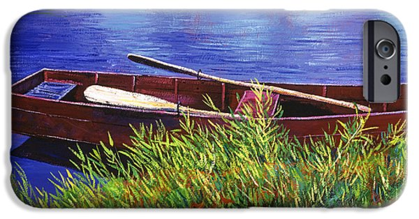 Boat iPhone Cases - The Red Rowboat iPhone Case by David Lloyd Glover