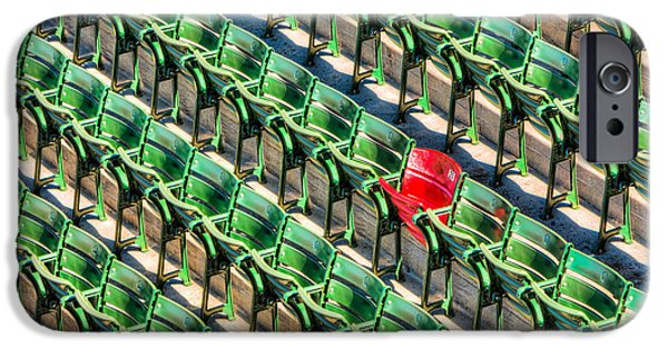 Red Sox iPhone Cases - The Red Seat at Fenway Park I iPhone Case by Clarence Holmes