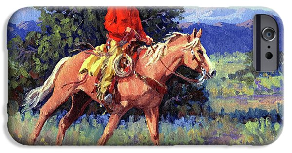 Chaps iPhone Cases - The Red Shirt iPhone Case by Randy Follis