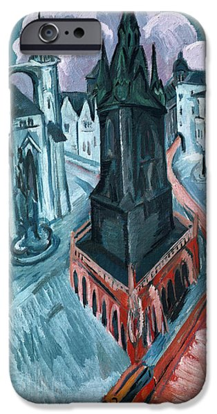 Abstract Expressionist iPhone Cases - The Red Tower in Halle iPhone Case by Ernst Ludwig Kirchner
