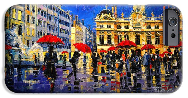 Sign iPhone Cases - The Red Umbrellas Of Lyon iPhone Case by Mona Edulesco