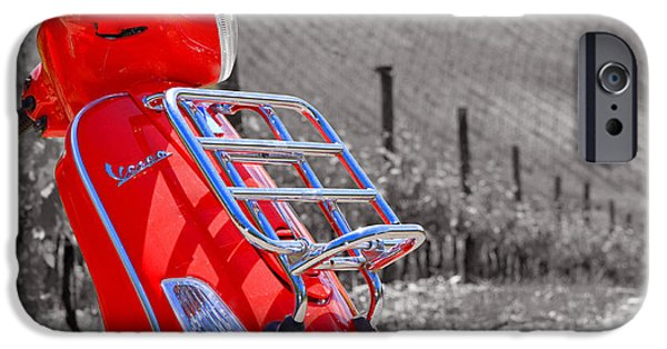 Scoot iPhone Cases - The Red Vespa iPhone Case by Adrian Alford