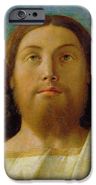 Figures Paintings iPhone Cases - The Redeemer iPhone Case by Giovanni Bellini