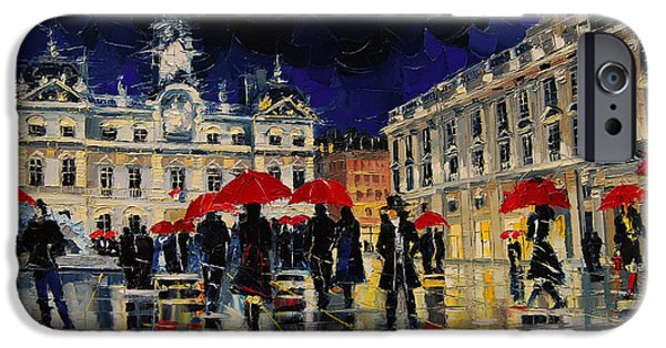 Couple iPhone Cases - The Rendezvous Of Terreaux Square In Lyon iPhone Case by Mona Edulesco