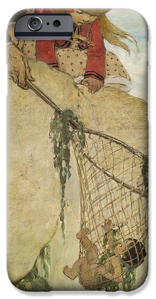 Innocence Drawings iPhone Cases - The Rescue Circa 1916 iPhone Case by Aged Pixel