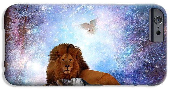 Lion Digital Art iPhone Cases - The resting Place iPhone Case by Dolores Develde
