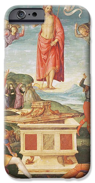 Miracle Photographs iPhone Cases - The Resurrection Of Christ, C.1502 Oil On Panel iPhone Case by Raphael