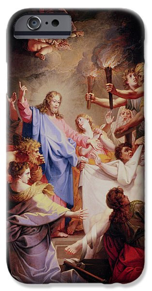 Miracle Photographs iPhone Cases - The Resurrection Of Lazarus Oil On Canvas iPhone Case by Jean-Baptiste Corneille