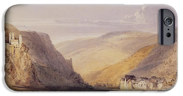Landscapes Drawings iPhone Cases - The Rhine at Assmannshausen iPhone Case by William Callow