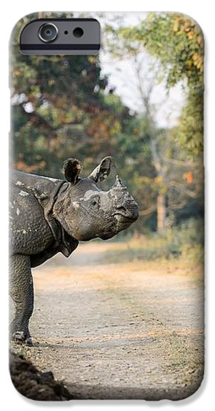 The Rhino at Kaziranga iPhone Case by Fotosas Photography