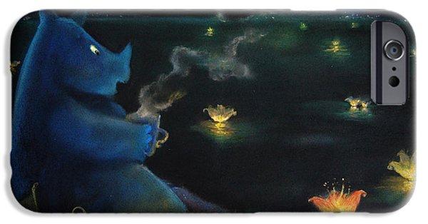 Book Pastels iPhone Cases - The Rhino drinkin tea iPhone Case by Alina  Kuzmenko