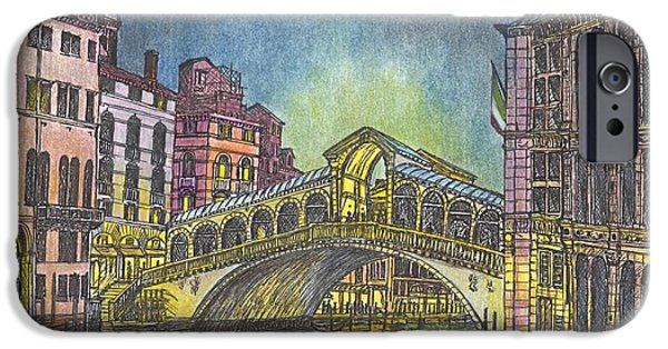 Covered Bridge Mixed Media iPhone Cases - Relections of Light and the Rialto Bridge An Evening in Venice  iPhone Case by Carol Wisniewski