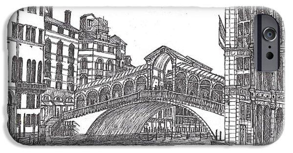 Covered Bridge Drawings iPhone Cases - The Rialto Bridge Venice Italy bw iPhone Case by Carol Wisniewski