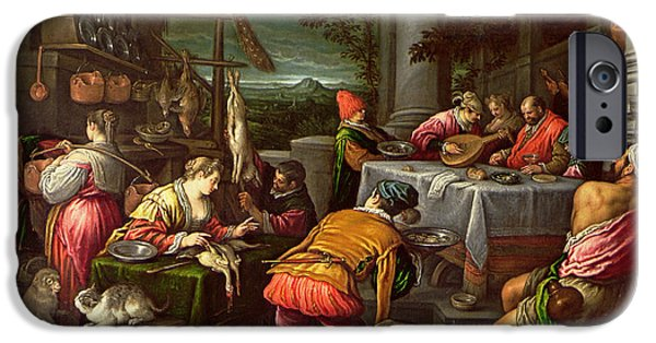 Parable iPhone Cases - The Rich Man And Lazarus, 1590-95 iPhone Case by Leandro da Ponte Bassano