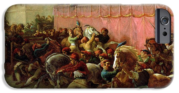 Horse Bit iPhone Cases - The Riderless Racers at Rome iPhone Case by Theodore Gericault