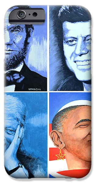 President Obama iPhone Cases - The Rise and the Fall of America iPhone Case by Victor Minca