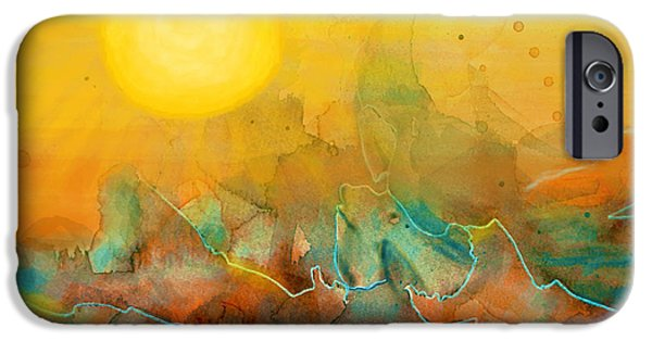 Grand Canyon Mixed Media iPhone Cases - The Rising Sun iPhone Case by Sandi OReilly