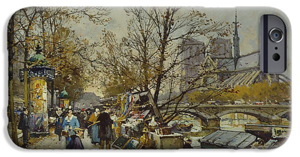 Nineteenth Century iPhone Cases - The Rive Gauche Paris with Notre Dame Beyond iPhone Case by Eugene Galien-Laloue