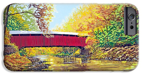 Covered Bridge Mixed Media iPhone Cases - The Rivers Embrace iPhone Case by David Linton