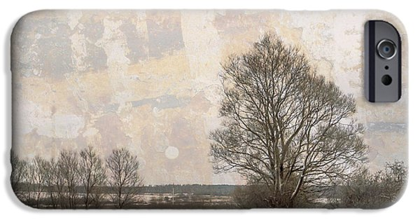 Village iPhone Cases - The Road in a Winter Day iPhone Case by Jenny Rainbow