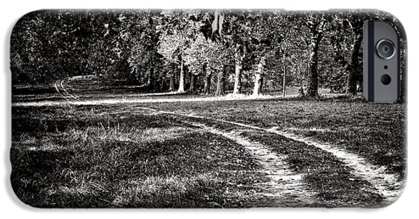 Country Dirt Roads iPhone Cases - The Road Less than Way Much Less Traveled  iPhone Case by Olivier Le Queinec