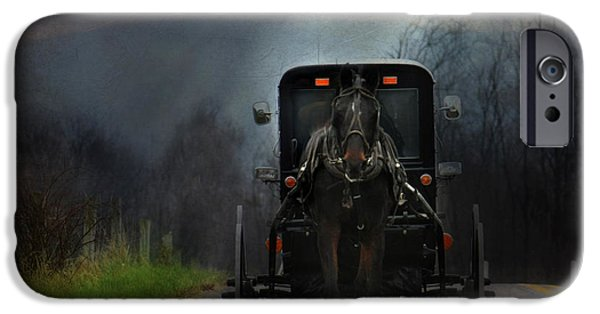 Amish iPhone Cases - The Road Less Traveled iPhone Case by Lori Deiter