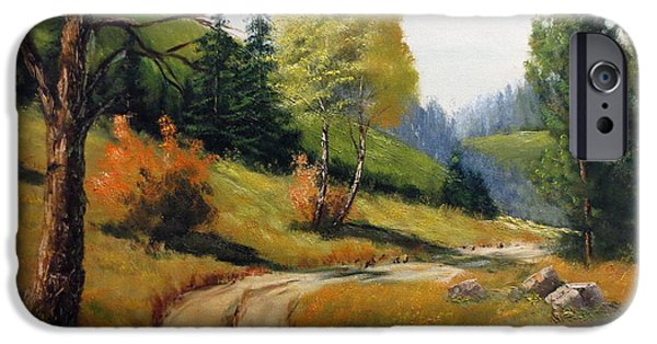 Park Scene Paintings iPhone Cases - The Road Not Taken iPhone Case by Lee Piper