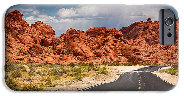 Asphalt iPhone Cases - The road to The Valley of Fire iPhone Case by Jane Rix
