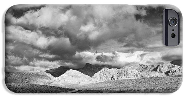 Oak Creek iPhone Cases - The Road to Turtlehead Peak Las Vegas Strip Nevada Red Rock Canyon Mojave Desert iPhone Case by Silvio Ligutti