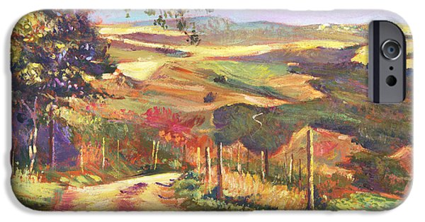 Featured Paintings iPhone Cases - The Road To Tuscany iPhone Case by David Lloyd Glover