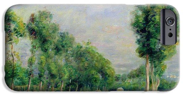Pierre Auguste Renoir iPhone Cases - The Road to Versailles at Louveciennes iPhone Case by Pierre Auguste Renoir