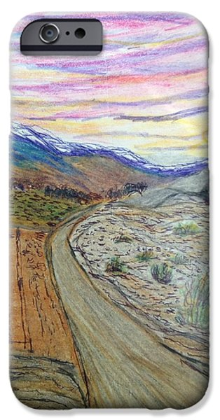 Snow-covered Landscape Drawings iPhone Cases - The Road to Yeshville  iPhone Case by Christine Degyansky