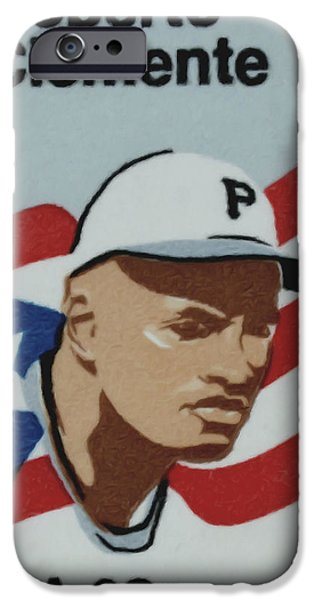 Clemente Paintings iPhone Cases - The Roberto Clemente  iPhone Case by Lanjee Chee