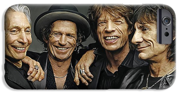 Musician Art iPhone Cases - The Rolling Stones Artwork 1 iPhone Case by Sheraz A
