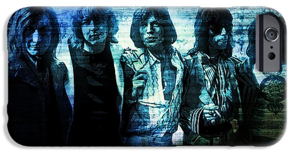 Charlie Watts iPhone Cases - The Rolling Stones - In Blue iPhone Case by Absinthe Art By Michelle LeAnn Scott